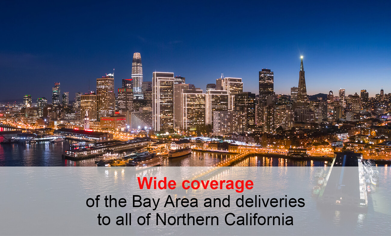 Wide coverage of the Bay Area for Delivery and Messenger Services